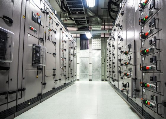 Electrical switchgear,Industrial electrical switch panel at substation in industrial zone at power plant